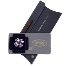 Brosa Swarovski Crystals trifoi cu petale inimioara Amethyst