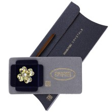 Brosa Swarovski Crystals trifoi cu petale inimioara Alb Aurora